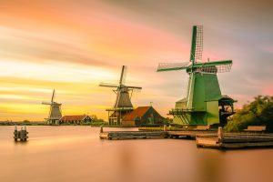 Amsterdam windmills in the Dutch countryside